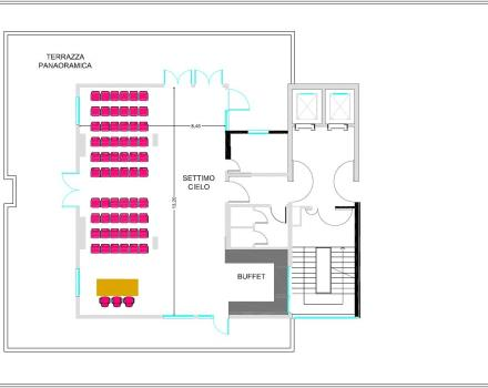 Room floorplan Landscape located on the seventh floor of the Jupiter Conference Centre within the structure of Best Western Premier HOTEL Galileo Padova